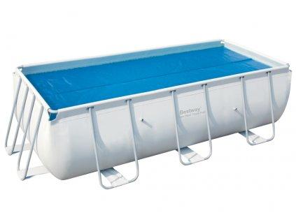 Solární plachta na obdélníkový bazén s konstrukcí 404 cm x 201 cm nebo 412 cm x 201 cm