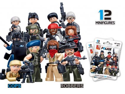 Figurky policistů 12 druhů v neprůhledném sáčku