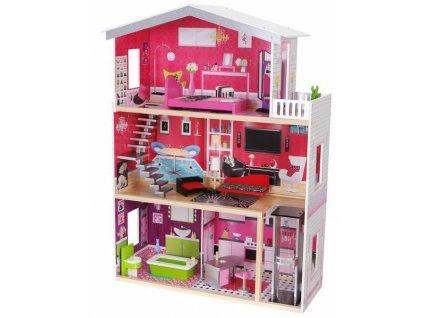 Dřevěný domeček s nábytkem pro panenky 87 x 114 x 32 cm