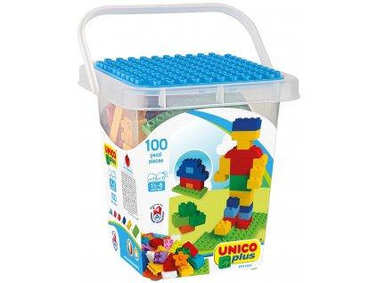 Stavebnice Unico Plus 100 ks kostiček v plastovém kyblíčku