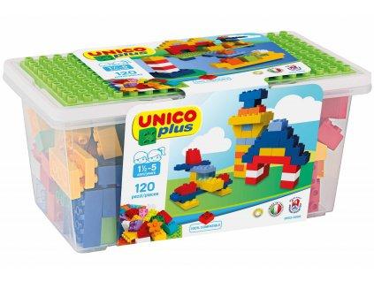 Stavebnice Unico Plus 120 ks kostiček v plastovém kyblíčku