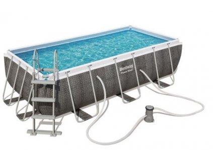Bazén s konstrukcí 404 x 201 x 100 cm se schůdky a filtrací černý rattan  Bestway 56721 Bazén s konstrukcí 404 x 201 x 100 cm se schůdky a filtrací černý rattan