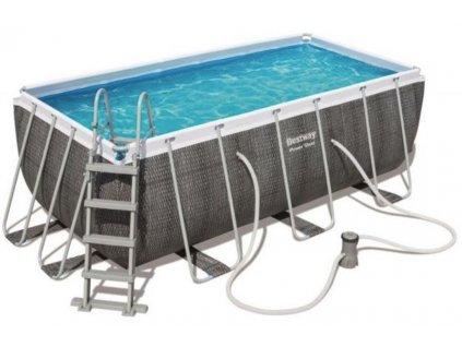 Bazén s konstrukcí 412 x 201 x 122 cm se schůdky a filtrací černý rattan  Bestway 56722 Bazén s konstrukcí 412 x 201 x 122 cm se schůdky a filtrací černý rattan