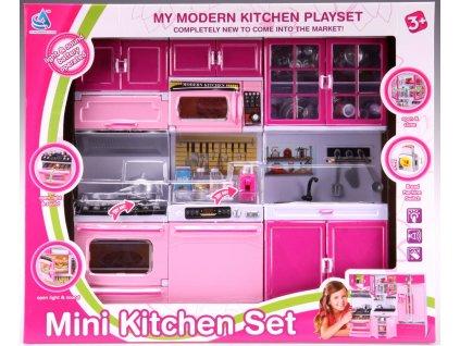Kuchyňka pro panenky 3-dílná s dřezem, sporákem a myčkou růžová