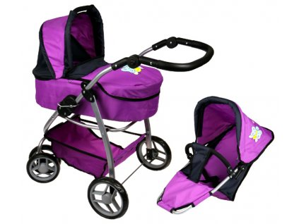 Kočárek pro panenky M4 fialový s motýlkem