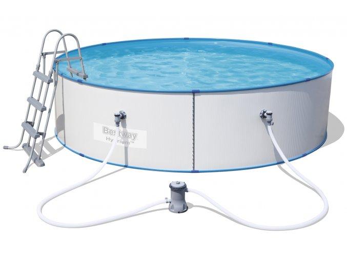 Bazén s plechovou stěnou 360 x 90 cm se schůdky a filtrací
