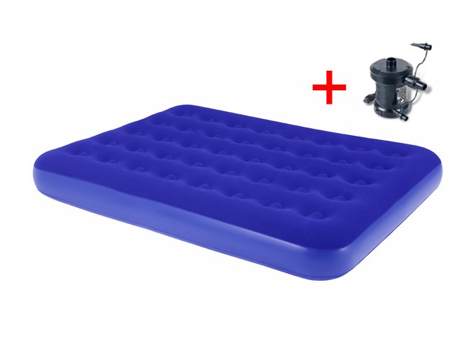Nafukovací postel modrá - Double s elektrickou pumpou 230 V