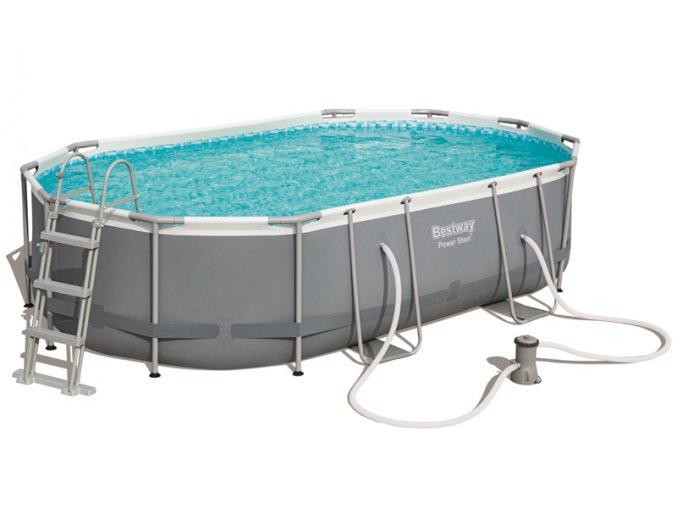 Bazén s konstrukcí s oválným půdorisem 488 x 305 x 107 cm se schůdky a filtrací