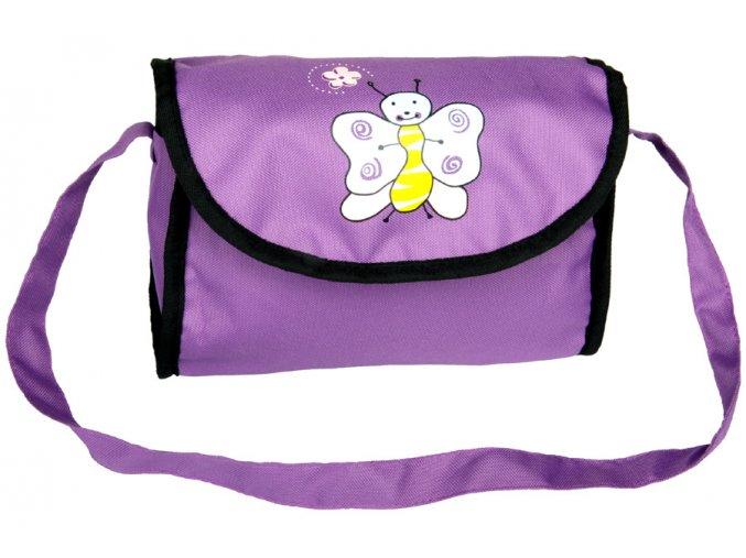 Taška na kočárek pro panenky fialová tmavá s motýlkem
