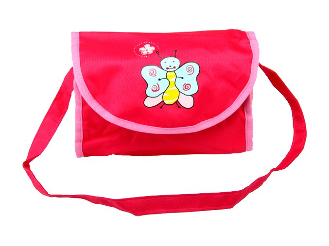 Taška na kočárek pro panenky růžovo - růžová s motýlkem