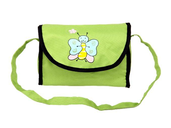 Taška na kočárek pro panenky zelená s motýlkem