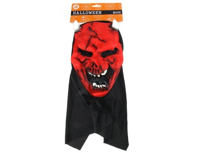 Maska čert červený s kápí