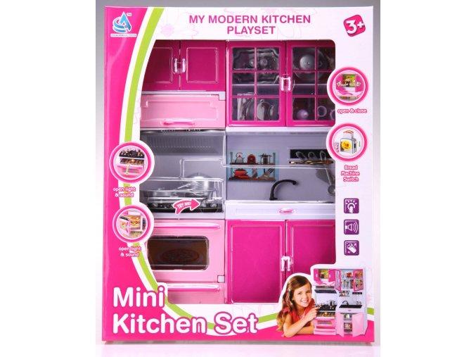 Kuchyňka pro panenky 2-dílná s dřezem a sporákem růžová