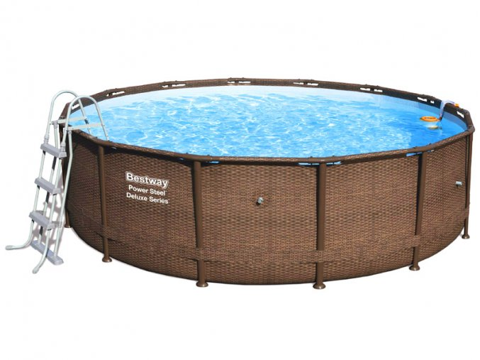 Bazén s konstrukcí rattan 427 x 107 cm se schůdky a filtrací  + Nafukovací míč Pat a Mat