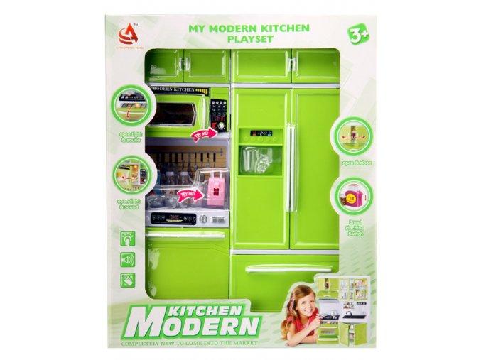 Kuchyňka pro panenky 2-dílná s myčkou a lednicí zelená