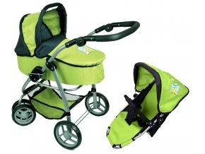 Kočárek pro panenky M4 zelený s motýlkem  Dárek: + Taška ke kočárku zdarma