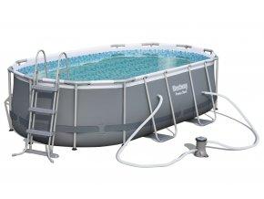 Bazén s konstrukcí s oválným půdorisem 424 x 250 x 100 cm se schůdky a filtrací