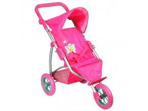 Kočárek pro panenky T1 růžový s motýlkem