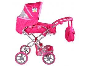Kočárek pro panenky K3 růžový s motýlkem