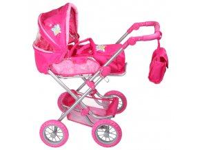 Kočárek pro panenky MAX3 růžový s motýlkem