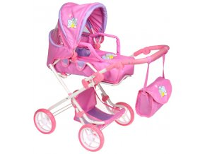 Kočárek pro panenky K3 růžovo - fialový s motýlkem