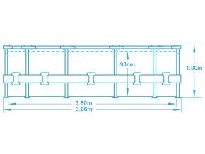 Bazén s konstrukcí 366 x 100 cm