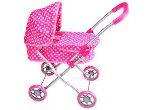 Kočárek pro panenky MH1 růžový s puntíky