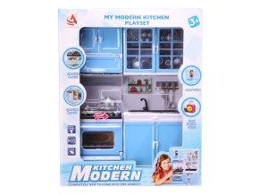 Kuchyňka pro panenky 2-dílná s dřezem a sporákem modrá
