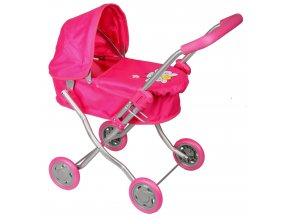 Kočárek pro panenky MH1 růžový s motýlkem