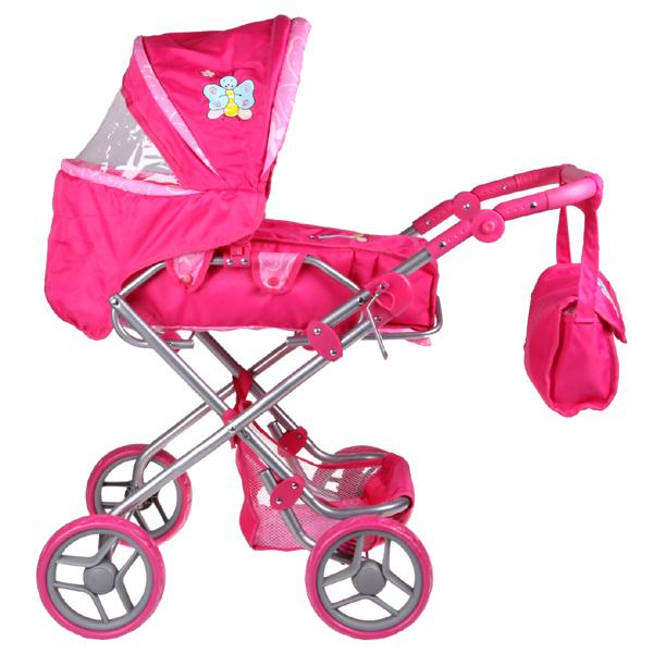Boncare Kočárek pro panenky K3 růžový s motýlkem