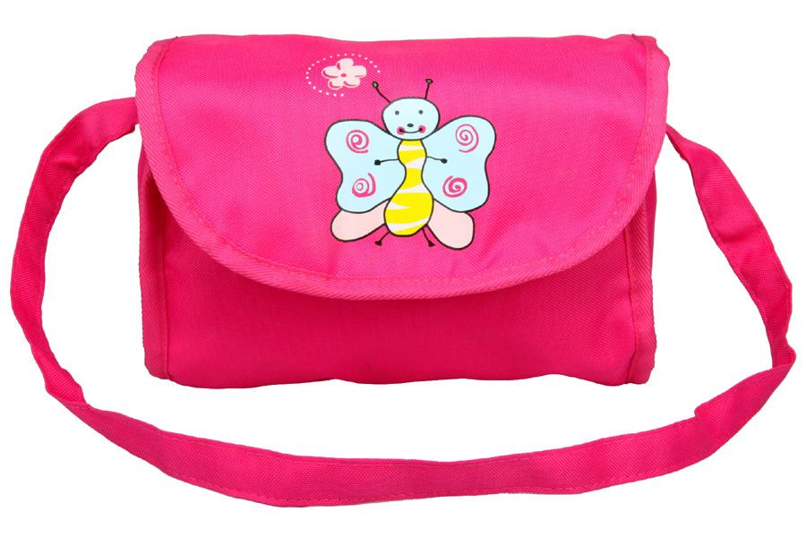 Boncare Taška na kočárek pro panenky růžová s motýlkem