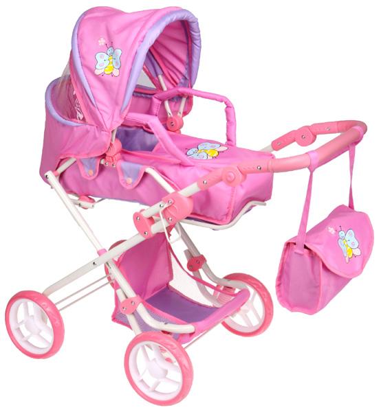Boncare Kočárek pro panenky K3 růžovo - fialový s motýlkem