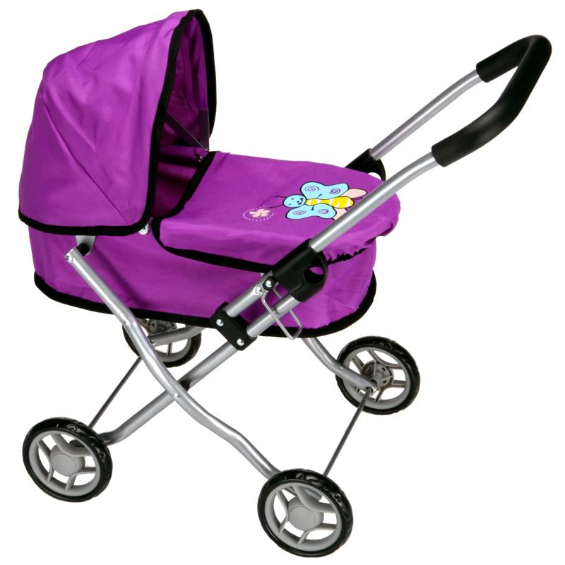 Boncare Kočárek pro panenky MH1 fialový s motýlkem