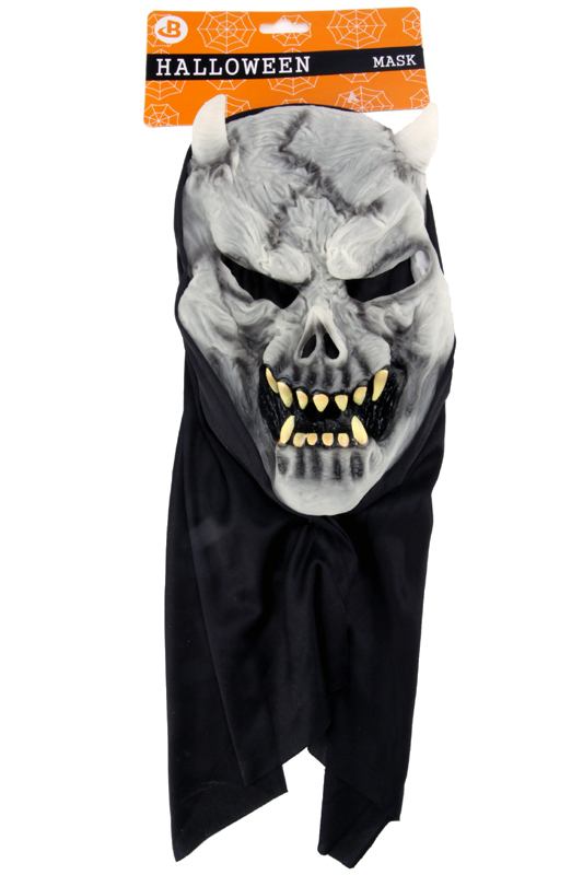 Maska čert svítící ve tmě s kápí