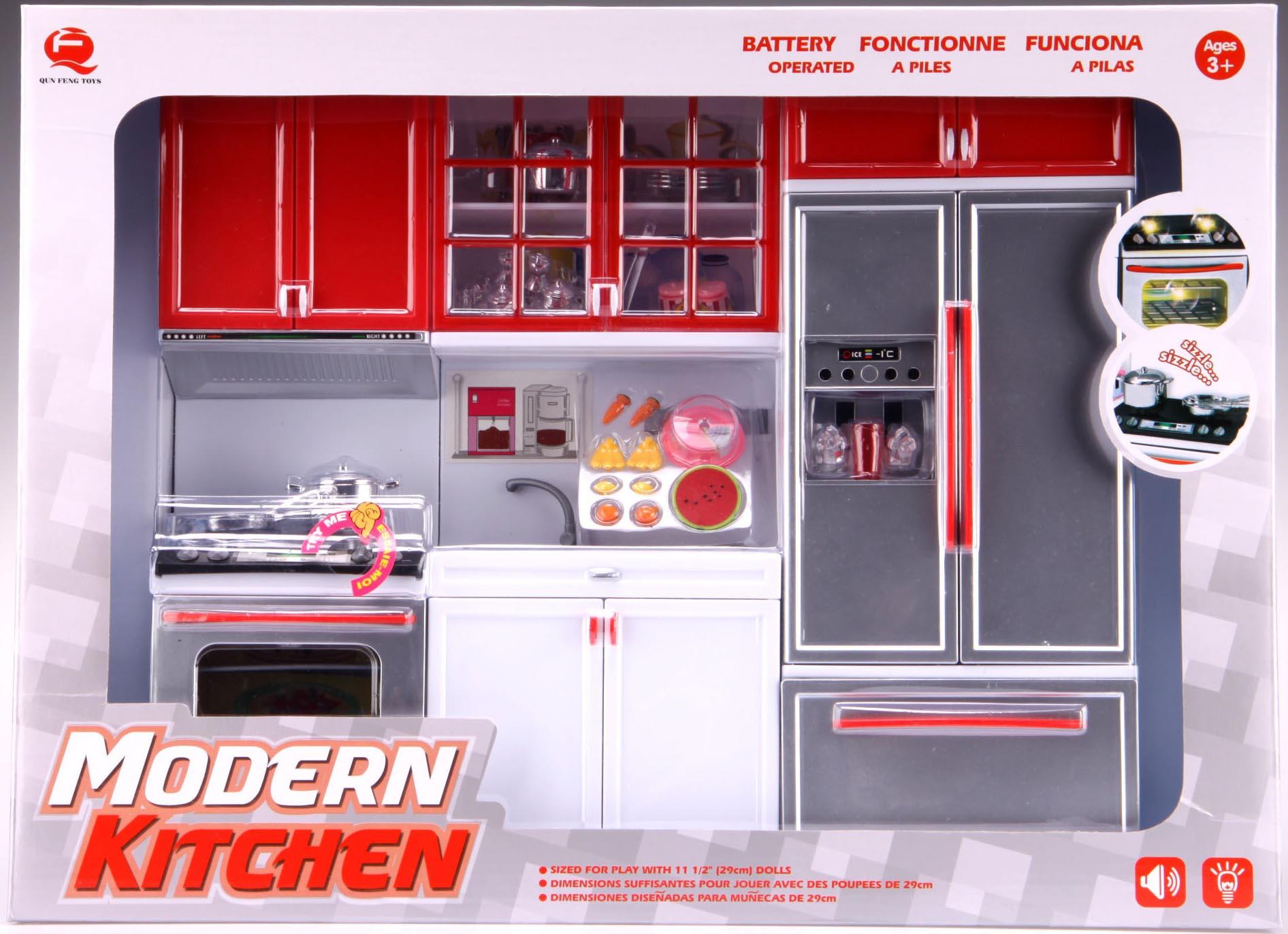 Kuchyňka pro panenky 3-dílná s dřezem, sporákem a lednicí červená