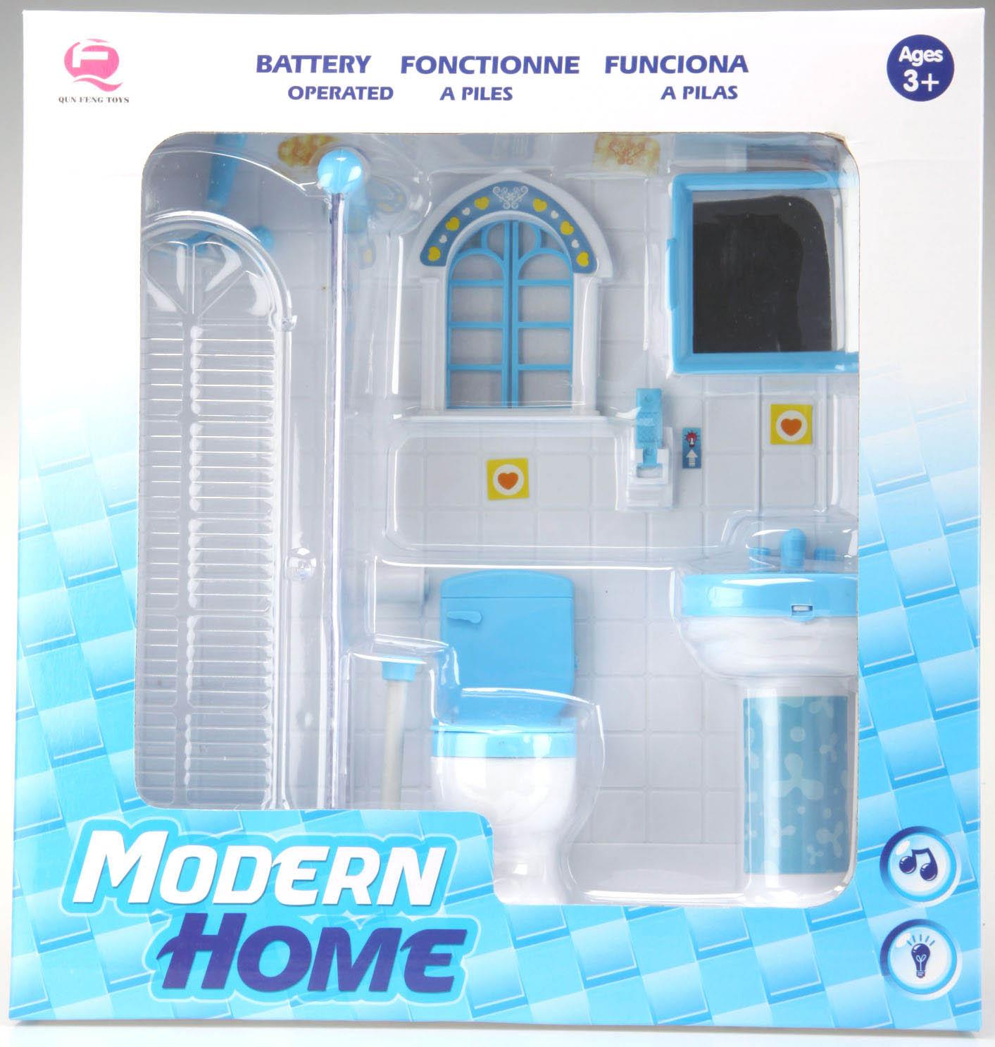 Koupelna pro panenky 1-dílná modrá