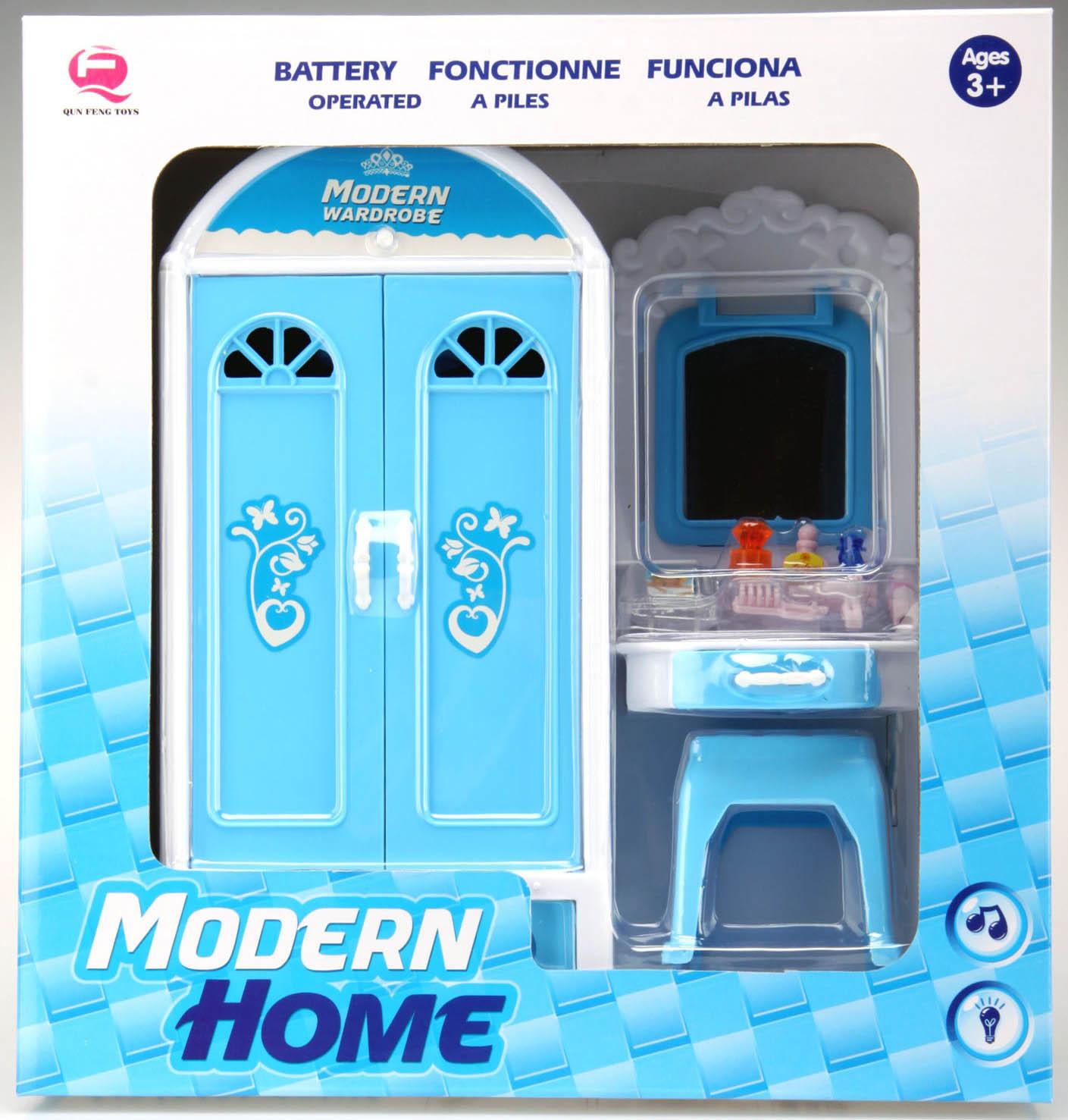 Ložnice pro panenky 1-dílná modrá