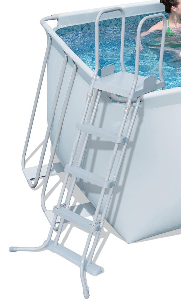 Schůdky k bazénům 122 cm bezpečnostní šedé