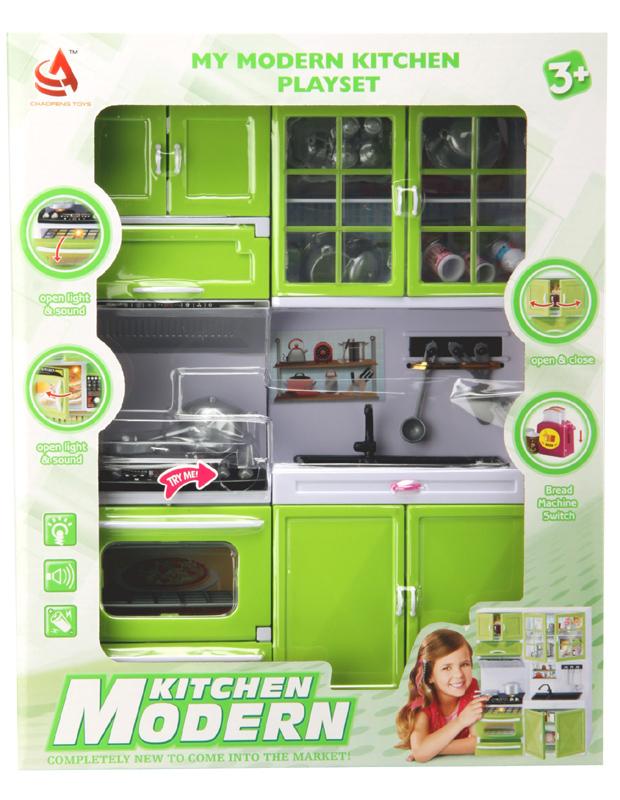 Kuchyňka pro panenky 2-dílná s dřezem a sporákem zelená