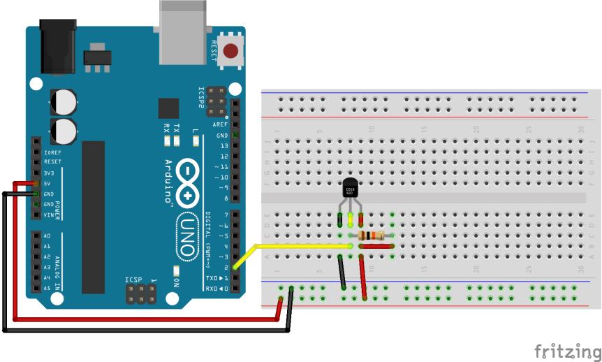 Jak na vodotěsné teplotní čidlo DS18B20? Propojení součástek.