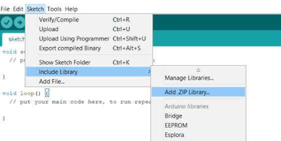 Importování knihovny přímo v Arduino IDE