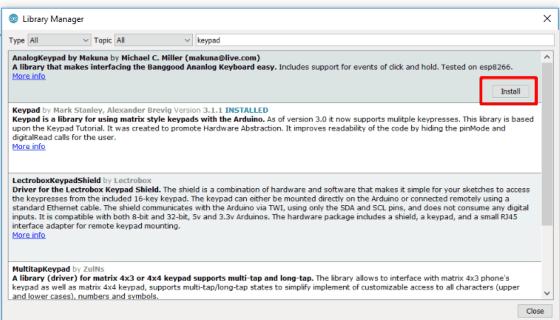 Library manager v Arduino IDE, kde můžeme instalovat knihovny