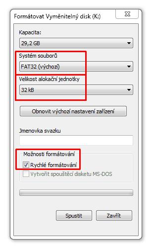 Nastavení (formátování) SD karty k jejímu využití s Arduinem