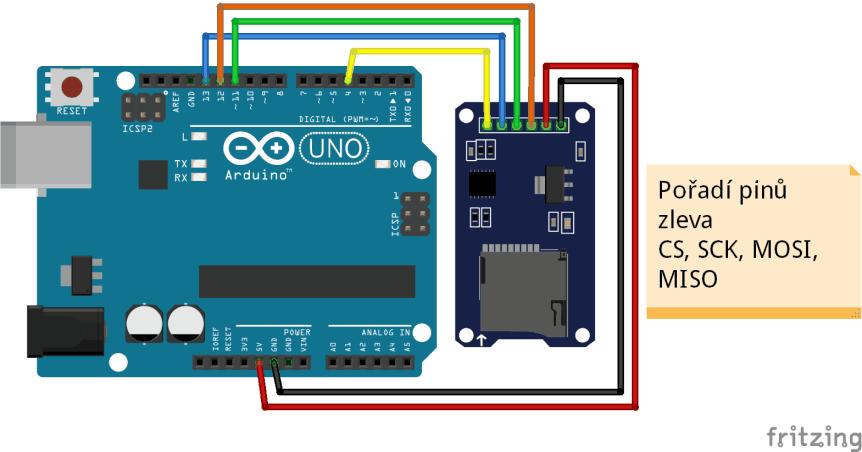 Schéma zapojení modulu SD čtečky karet