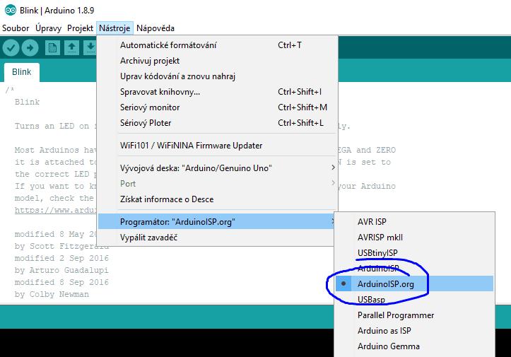 Arduino ISP nastavení programátoru