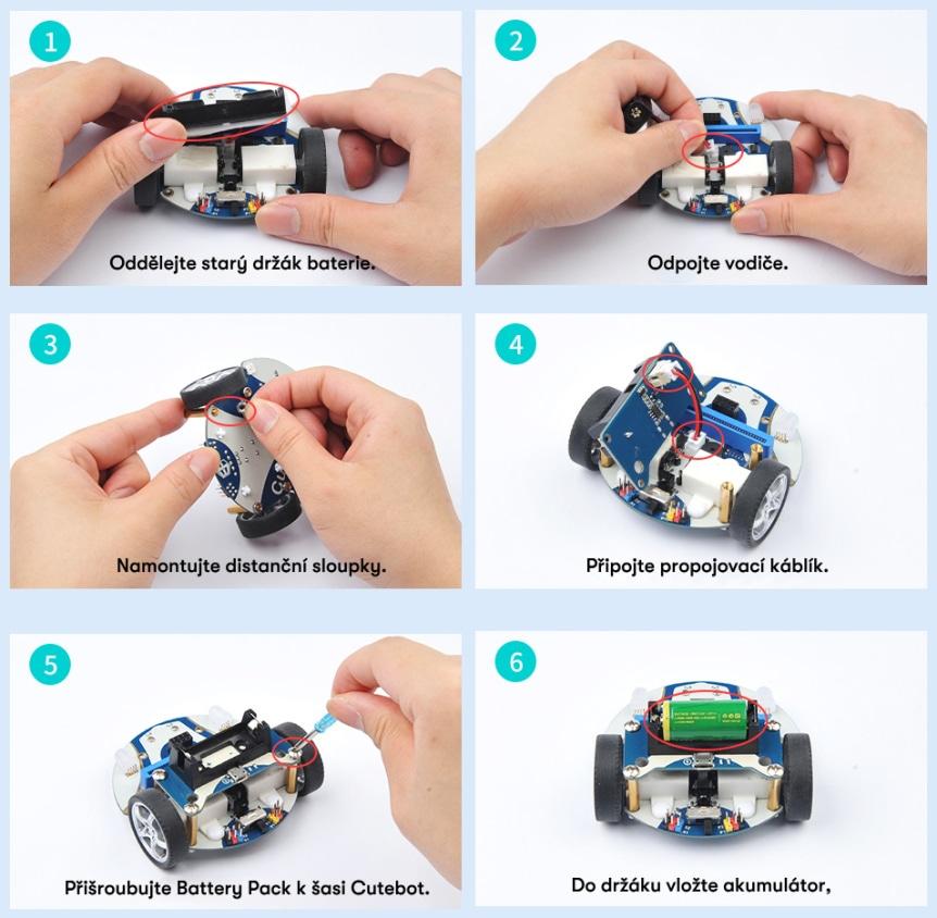 Battery Pack pro auto Cutebot V3.0 instalace