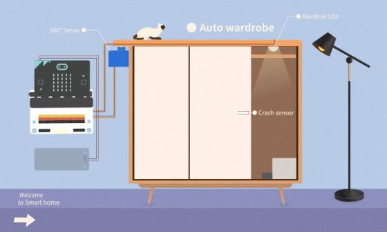 BBC micro:bit kit pro chytrou domácnost - projekt chytrá skříň