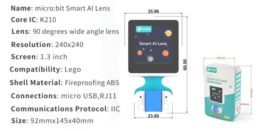Chytrá kamera pro A.I. umělou inteligenci parametry a rozměr balení