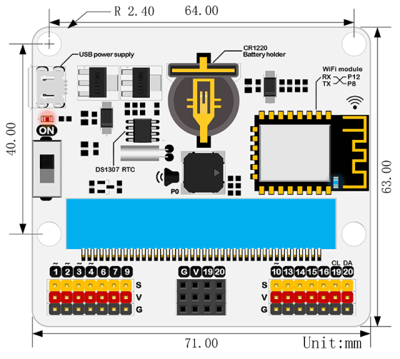 IoT:bit pro micro:bit - modul pro Internet věcí IoT rozměry
