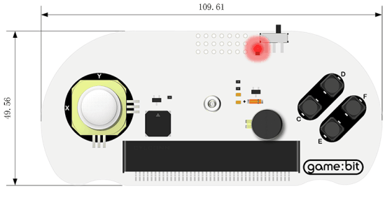 Joystick:bit pro micro:bit V2 - gamepad modul rozměry
